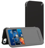 PUREGEAR BLACK FOLIO WALLET CASE COVER CARD SLOT STAND FOR iPHONE 5 5s SE (2016)