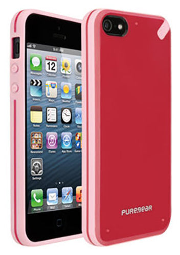PUREGEAR STRAWBERRY RED/PINK SLIM SHELL CASE HARD COVER FOR iPHONE 5 5s SE 2016