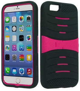 "PINK DOUBLE ARMOR HARD CASE SOFT RUBBER SKIN COVER STAND FOR iPHONE 6 (4.7"")"