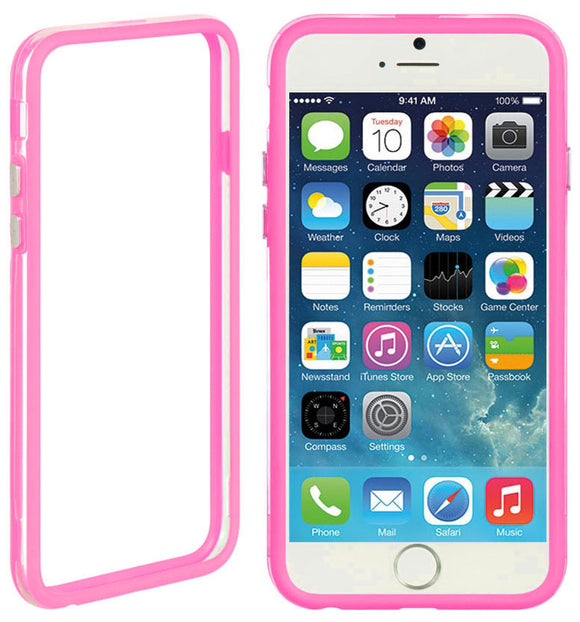 NEW HOT PINK CLEAR TPU BUMPER FRAME CASE SLIM COVER FOR APPLE iPHONE 6 (4.7