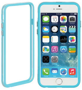 "BABY BLUE CLEAR TPU BUMPER FRAME CASE SLIM COVER FOR APPLE iPHONE 6 PLUS (5.5"")"