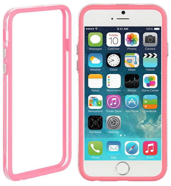 BABY PINK CLEAR TPU BUMPER FRAME CASE SLIM COVER FOR APPLE iPHONE 6 PLUS (5.5
