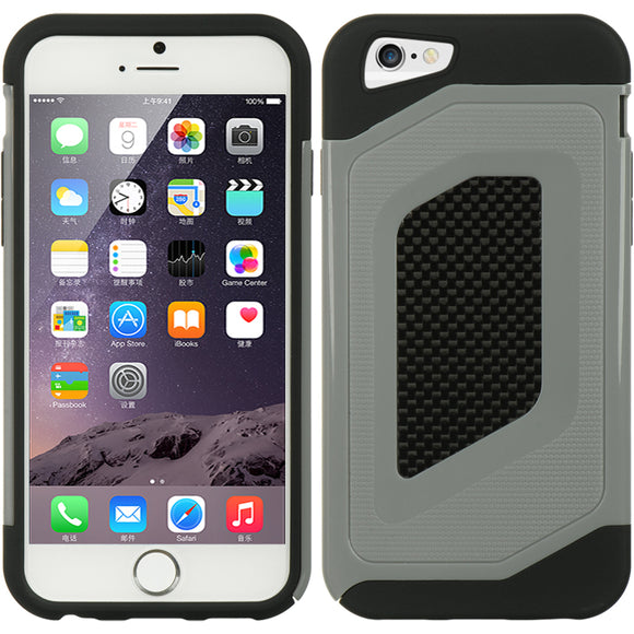 LUXMO GRAY/BLACK CARBON FIBER CRUSTIFICATION CASE COVER FOR APPLE iPHONE 6  4.7