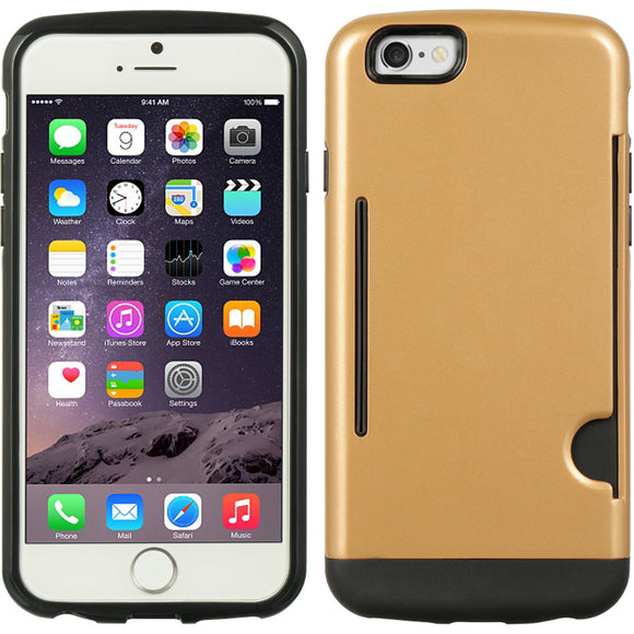 GOLD CREDIT CARD SLOT WALLET ID CASE COVER SLIM TPU SKIN FOR APPLE iPHONE 6 4.7