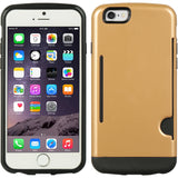 GOLD CREDIT CARD SLOT WALLET ID CASE COVER SLIM TPU SKIN FOR APPLE iPHONE 6 4.7""