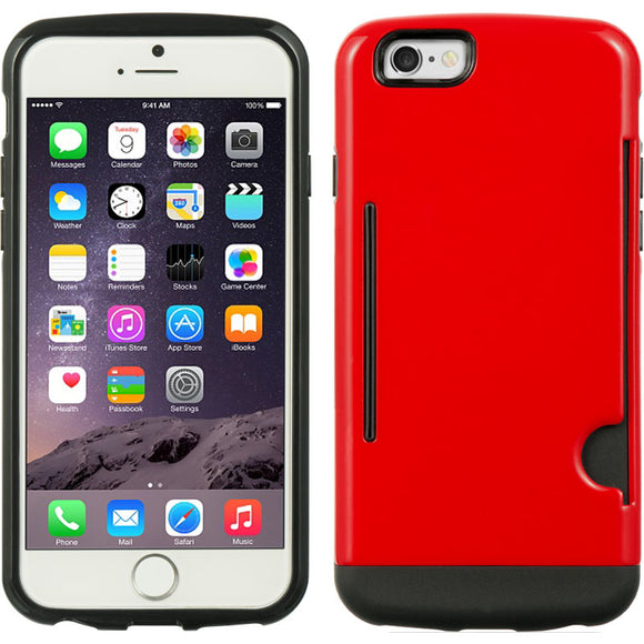 RED CREDIT CARD SLOT WALLET ID CASE COVER SLIM TPU SKIN FOR APPLE iPHONE 6 4.7