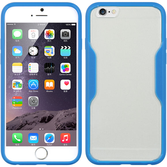 BLUE CLEAR TPU GUMMY SKIN CASE HARD/SOFT COVER FOR APPLE iPHONE 6 (4.7