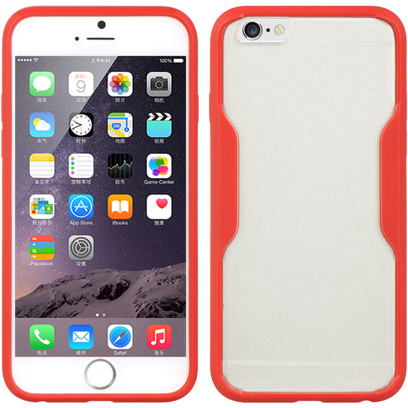 RED CLEAR TPU GUMMY SKIN CASE HARD/SOFT COVER FOR APPLE iPHONE 6 (4.7