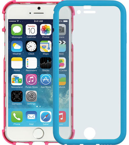 BLUE PINK WRAP CASE COVER BUILT-IN LCD SCREEN GUARD PROTECTOR FOR iPHONE 6  4.7