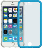 BLUE WHITE WRAP CASE COVER BUILT-IN LCD SCREEN GUARD PROTECTOR FOR iPHONE 6 4.7""