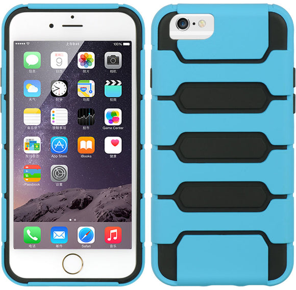 SKY BLUE BLACK HYBRID RUGGED TANK CASE SOFT SKIN HARD COVER FOR iPHONE 6 (4.7