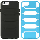 "SKY BLUE BLACK HYBRID RUGGED TANK CASE SOFT SKIN HARD COVER FOR iPHONE 6 (4.7"")"