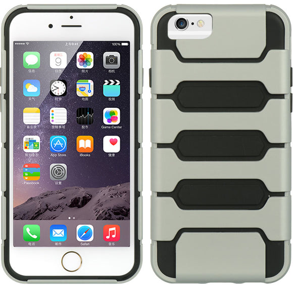 SILVER BLACK HYBRID RUGGED TANK CASE SOFT SKIN HARD COVER FOR iPHONE 6 (4.7