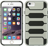 "SILVER BLACK HYBRID RUGGED TANK CASE SOFT SKIN HARD COVER FOR iPHONE 6 (4.7"")"