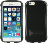 BLACK CURVED GRIP CASE TPU RUBBER SKIN HARD COVER STAND FOR APPLE iPHONE 6  4.7""