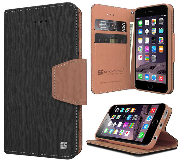 BLACK BROWN INFOLIO WALLET CREDIT CARD ID CASH CASE STAND FOR iPHONE 6 PLUS 5.5