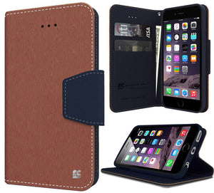 BROWN NAVY INFOLIO WALLET CREDIT CARD ID CASH CASE STAND FOR iPHONE 6 PLUS 5.5""