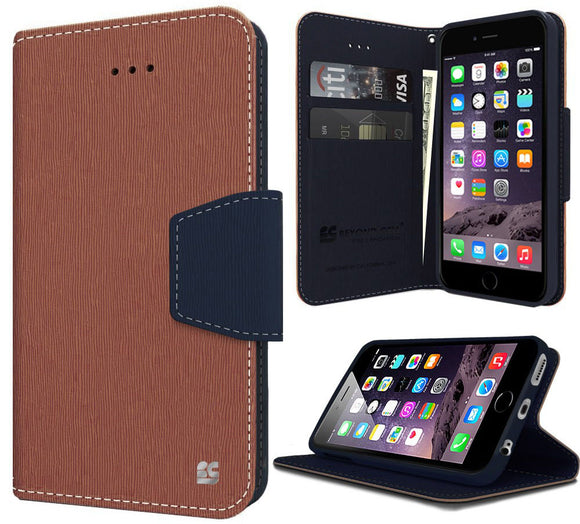 BROWN NAVY INFOLIO WALLET CREDIT CARD ID CASH CASE STAND FOR iPHONE 6 PLUS 5.5