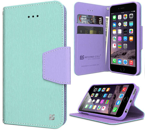 MINT PURPLE INFOLIO WALLET CREDIT CARD ID CASH CASE STAND FOR iPHONE 6 PLUS 5.5