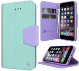 MINT PURPLE INFOLIO WALLET CREDIT CARD ID CASH CASE STAND FOR iPHONE 6 PLUS 5.5""