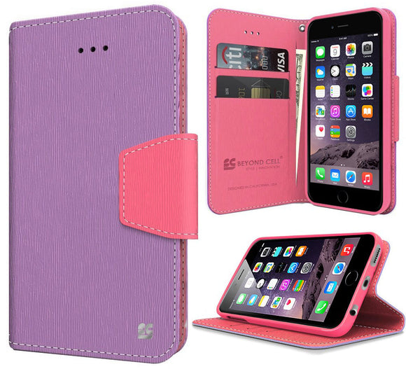 PURPLE PINK INFOLIO WALLET CREDIT CARD ID CASH CASE STAND FOR iPHONE 6 PLUS 5.5