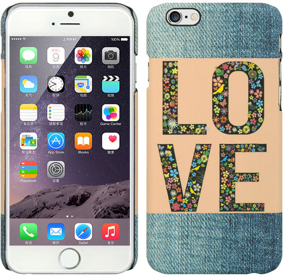 LUXMO DESIGNER CASE LOVE FLOWERS DENIM SLIM HARD COVER FOR APPLE iPHONE 6 (4.7