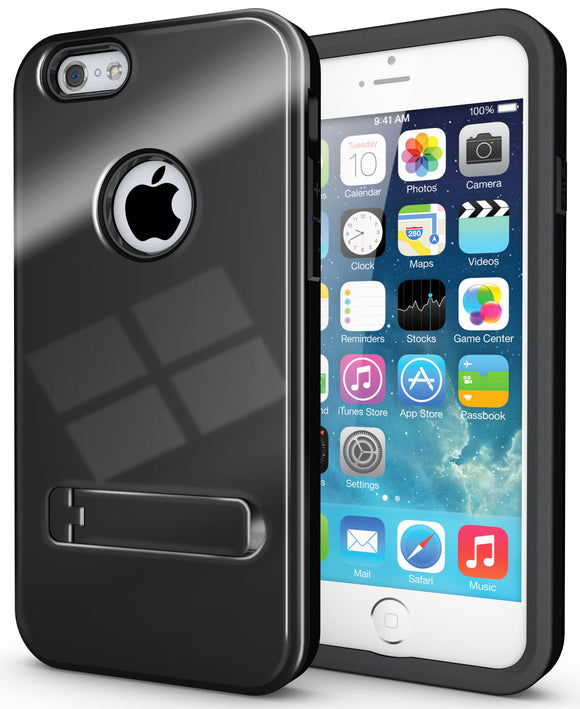 BLACK SLIM TOUGH SHIELD GLOSSY ARMOR HYBRID CASE COVER SKIN FOR iPHONE 6 (4.7