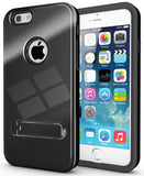 "BLACK SLIM TOUGH SHIELD GLOSSY ARMOR HYBRID CASE COVER SKIN FOR iPHONE 6 (4.7"")"