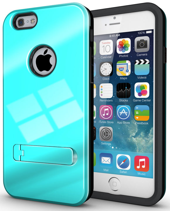 SKY BLUE SLIM TOUGH SHIELD GLOSSY ARMOR HYBRID CASE COVER SKIN FOR iPHONE 6 4.7