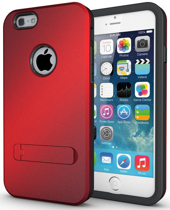 RED SLIM TOUGH SHIELD MATTE ARMOR HYBRID CASE COVER SKIN FOR iPHONE 6 4.7