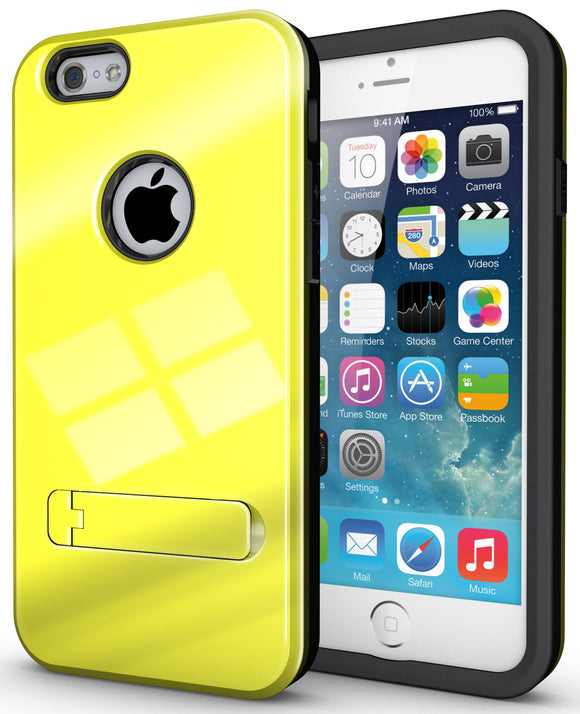 YELLOW SLIM TOUGH SHIELD GLOSSY ARMOR HYBRID CASE COVER SKIN FOR iPHONE 6 (4.7