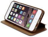 BROWN INFOLIO WRIST STRAP LANYARD WALLET CREDIT CARD ID CASE FOR iPHONE 6 PLUS