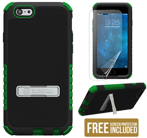 GREEN TRI-SHIELD SOFT SKIN HARD CASE STAND SCREEN PROTECTOR FOR iPHONE 6 PLUS
