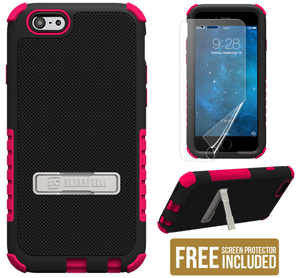 PINK TRI-SHIELD SOFT SKIN HARD CASE STAND SCREEN PROTECTOR FOR iPHONE 6 PLUS