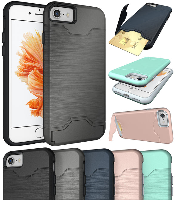 CREDIT CARD SLOT KICKSTAND HARD CASE COVER STAND FOR APPLE iPHONE 7/8