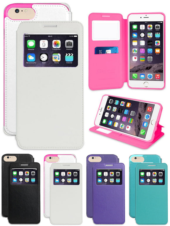 INFOLIO WINDOW VIEW WALLET CREDIT ID CARD SLOT CASE STAND FOR APPLE iPHONE 7/8