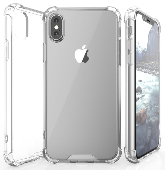 AQUAFLEX TPU ANTI-SHOCK BUMPER CASE COVER CLEAR HARD BACK FOR APPLE iPHONE X