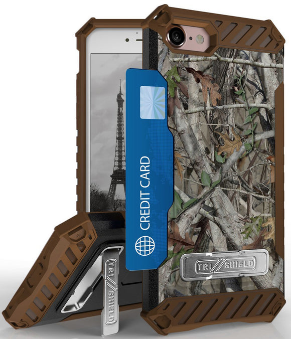 AUTUMN CAMO TREE REAL WOODS RUGGED CASE CARD SLOT COVER + STRAP FOR iPHONE 8/7
