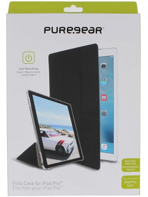 PUREGEAR BLACK/CLEAR SLIM FOLIO CASE COVER STAND FOR APPLE iPAD PRO 12.9