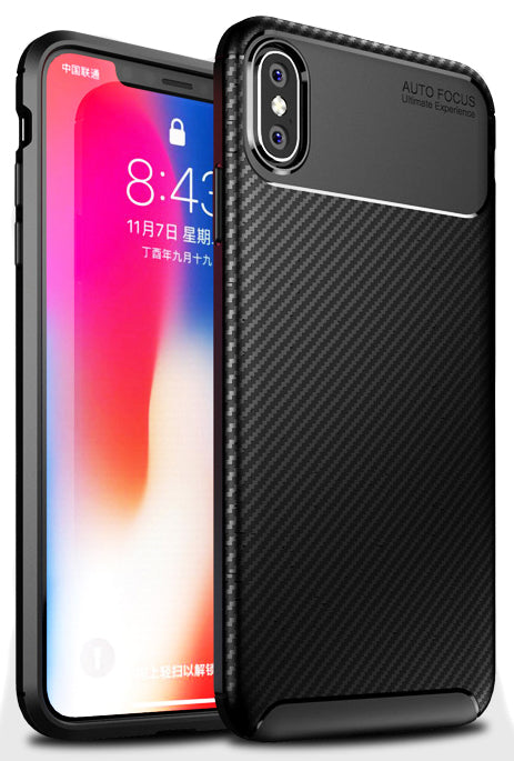 Black Carbon Fiber Flex TPU Gel Skin Case Cover for Apple iPhone X Xs 10 10s