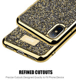 Studded Rock Crystal Bling Rhinestone Case Cover for Apple iPhone Xs/X/10