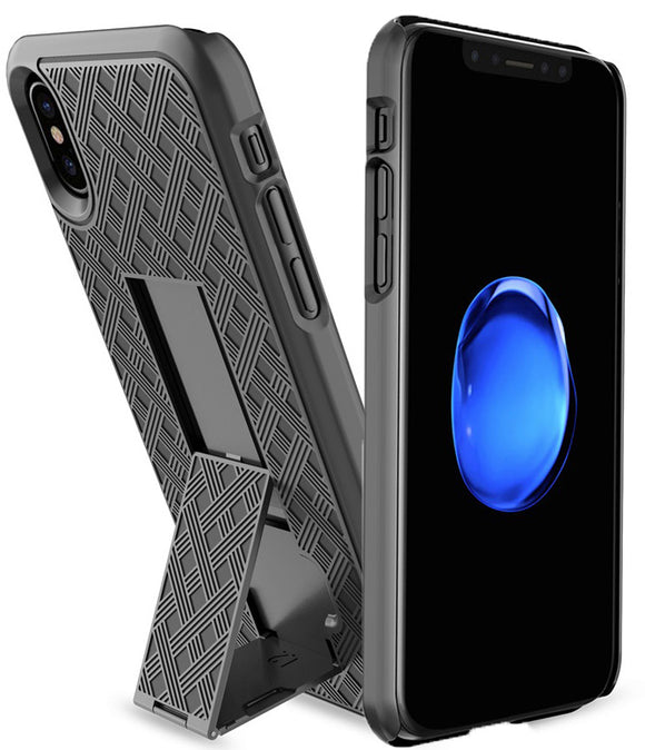 Black Kickstand Slim Case Hard Cover for Apple iPhone X / 10