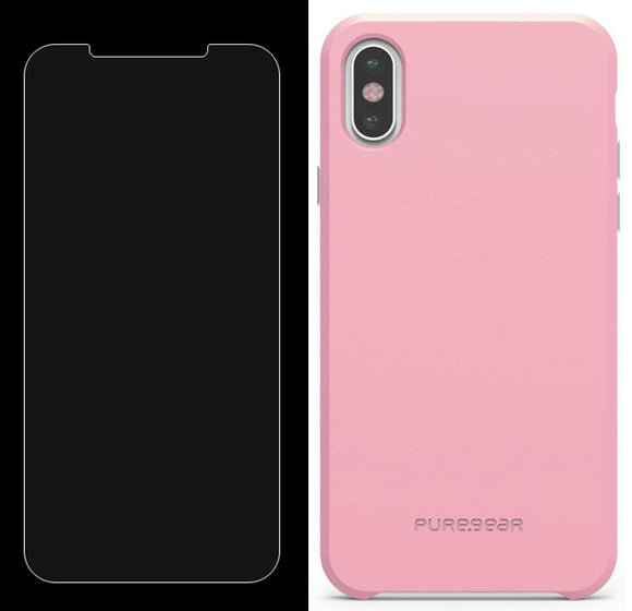 PureGear Baby Pink SOFT-TEK Case Cover + Tempered Glass for iPhone X/Xs/10/10s