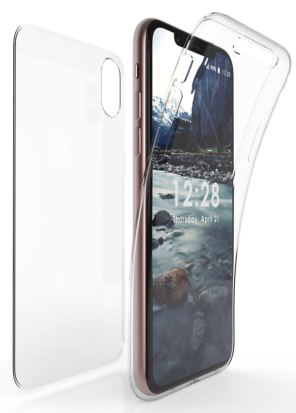TRI-MAX CLEAR SCREEN GUARD FULL BODY TPU WRAP CASE COVER FOR APPLE iPHONE X 10