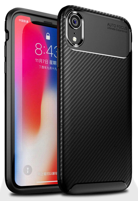 Black Carbon Fiber Flex TPU Gel Skin Case Cover for Apple iPhone XR (10R)
