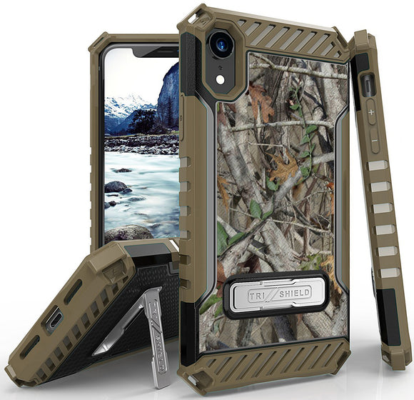 Autumn Camo Tree Real Woods Rugged Case Cover Stand for Apple iPhone XR 6.1