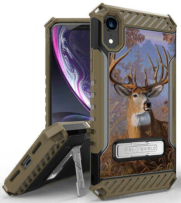 Buck Deer Camo Outdoor Hunter Rugged Case Cover Stand for Apple iPhone XR 6.1