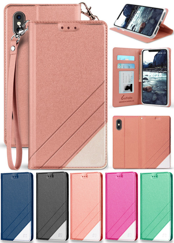 Folio Wallet Case ID Slot Cover Stand + Wrist Strap for Apple iPhone Xs Max 6.5