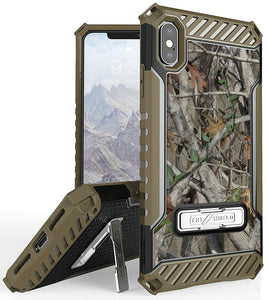 Autumn Camo Tree Real Woods Rugged Case Cover Stand for Apple iPhone Xs Max 6.5""