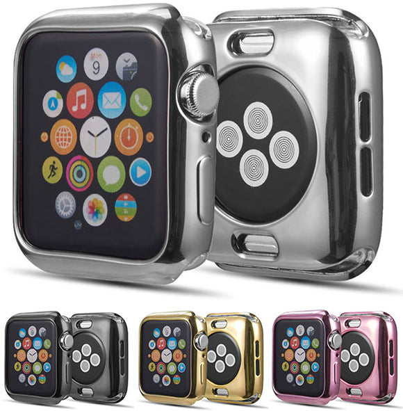 Metallic Electroplated Finish Case Flexible Cover for Apple Watch Series 4, 44mm